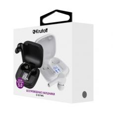 Bluetooth-наушники Krutoff TWS Q-02 сенсорные, с индикацией задяра, внутриканальные черные