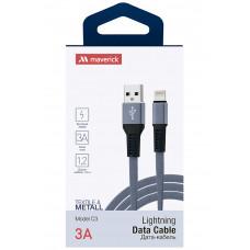 Кабель Maverick USB to Apple Lightning C3 3A 1.2m плоский нейлоновый серый