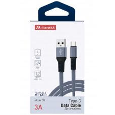 Кабель Maverick USB to Type-C C3 3A 1.2m плоский нейлоновый серый
