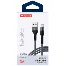 Кабель Maverick USB to Apple Lightning C4 3A 1.2m нейлоновый серый