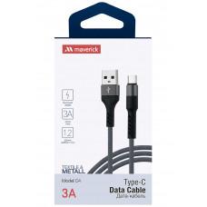 Кабель Maverick USB to Type-C C4 3A 1.2m нейлоновый серый