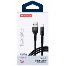 Кабель Maverick USB to Type-C C4 3A 1.2m нейлоновый черный