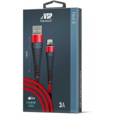 Кабель Borasco USB to Apple Lightning 1m 3А Fishbone усиленный красный